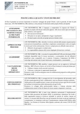 Politica qualità ATS-0821-1